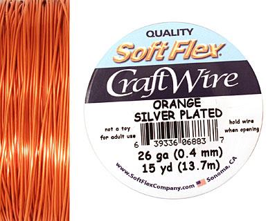 Soft Flex Silver Plated Orange Craft Wire 26 gauge, 15 yards