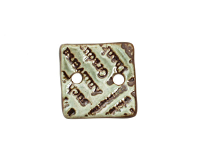 Earthenwood Studio Ceramic Peacock Iron Small Square Text Link 19mm