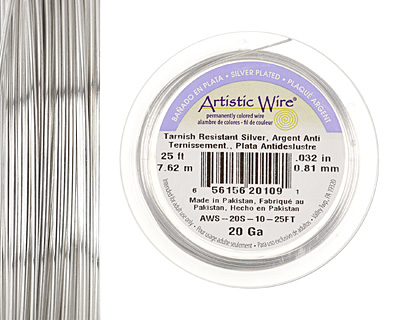 Artistic Wire Tarnish Resistant Silver 20 gauge, 25 feet