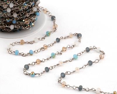 French Riviera Mix Crystal 4mm Imitation Rhodium (plated) Bead Chain