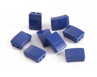 Navy Blue Enamel 2-Hole Tile Rectangle Bead 12x8mm
