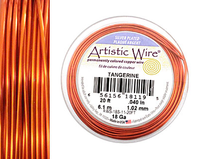 Artistic Wire Silver Plated Tangerine 18 gauge, 20 feet