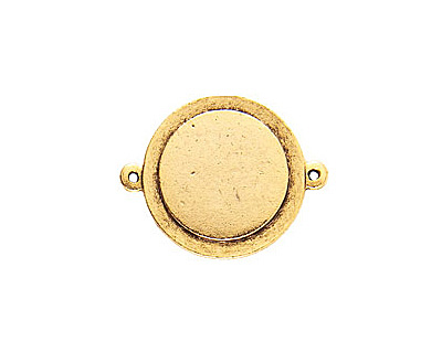 Nunn Design Antique Gold (plated) Raised Tag Small Circle Connector 33x26mm