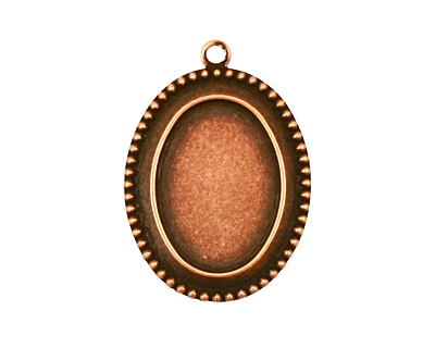 Stampt Antique Copper (plated) Beaded Edge Oval Setting 13x18mm