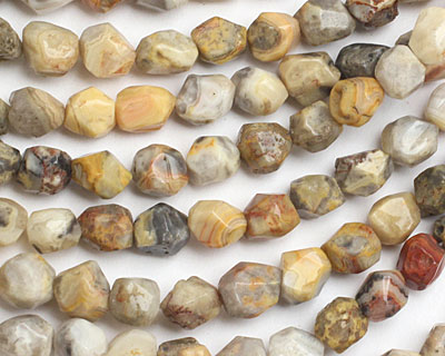 Crazy Lace Agate Faceted Nugget 9-11x7-10mm