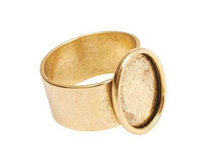 Nunn Design Antique Gold (plated) Small Oval Frame Adjustable Ring 12x16mm