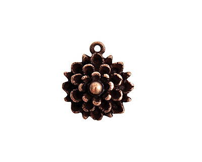 Nunn Design Antique Copper (plated) Mum Flower Charm 17x19mm