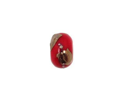 Grace Lampwork Regal Red Metallic Rondelle 9x14mm