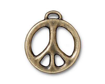 TierraCast Antique Brass (plated) Peace Pendant 24x27mm