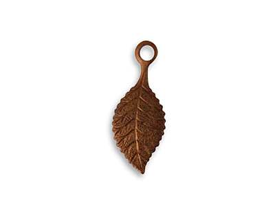 Vintaj Artisan Copper Spring Green Leaf Charm 9x22mm