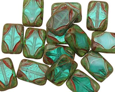 Czech Glass Beach Glass Picasso Table Cut Rectangle 11x8mm