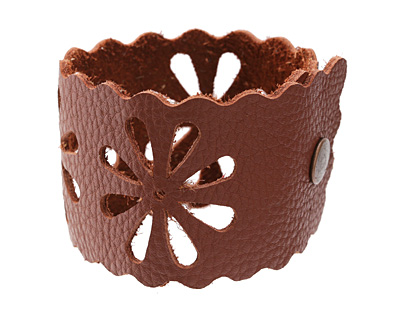 The Lipstick Ranch Terra Cotta Leather Cuff Bracelet w/ Floral Cut Out 2