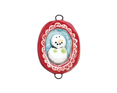 Jangles Ceramic Framed Snowman Pendant Link 22-25x28-30mm