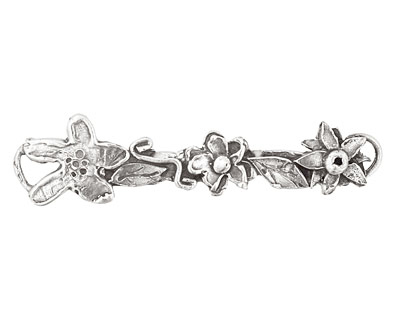 Rustic Charms Sterling Silver Multi Flower Link 54x13mm