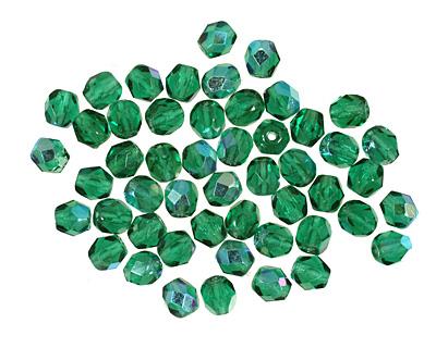 Czech Fire Polished Glass Green Emerald AB Round 4mm