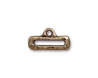 TierraCast Antique Brass (plated) Distressed Slide w/ Loop 10x19mm