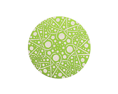 Lillypilly Lime Green Geometrics Anodized Aluminum Disc 25mm, 24 gauge