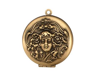 Antique Brass (plated) Round Maiden Heirloom Locket 30x35mm