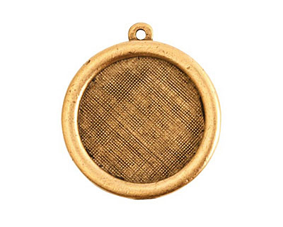 Nunn Design Antique Gold (plated) Framed Small Circle Pendant 29x26mm