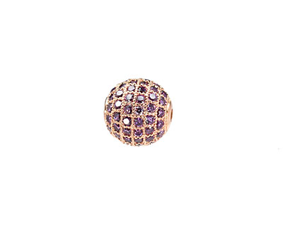 Rose Gold (plated) & Tanzanite CZ Micro Pave Round 10mm