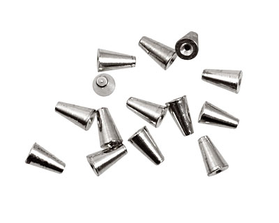 Memory Wire Silver (plated) Cone Endcap 6.4x4mm