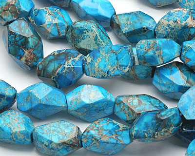 Turquoise Impression Jasper Faceted Nugget 20-25x15-20mm