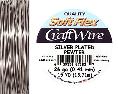 Soft Flex Silver Plated Pewter Craft Wire 26 gauge, 15 yards