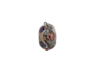 Grace Lampwork Dark Amethyst w/Silver Foil Rondelle 9x14mm
