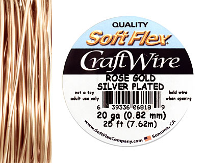 Soft Flex Silver Plated Rose Gold Craft Wire 20 gauge, 25 ft