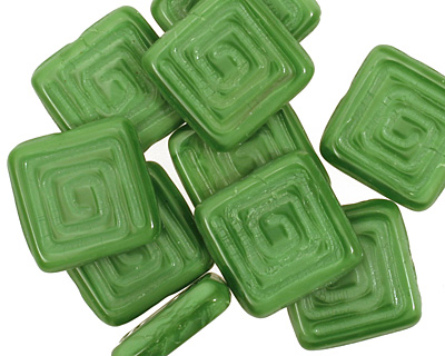 Czech Glass Apple Green Tribal Square 14mm
