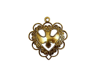 Stampt Antique Gold (plated) Dove Heart Charm 20x22mm