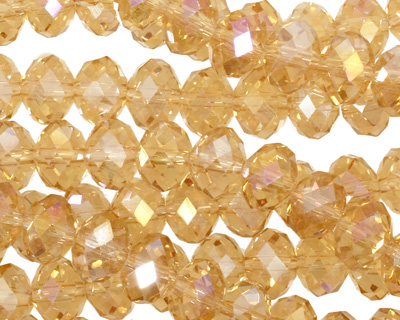 Light Topaz AB Crystal Faceted Rondelle 8mm