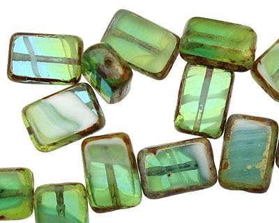 Czech Glass Peruvian Opal Rectangle 12x8mm