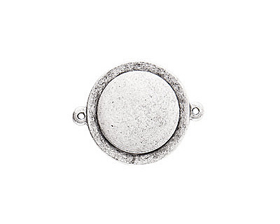 Nunn Design Antique Silver (plated) Raised Tag Small Circle Connector 33x26mm