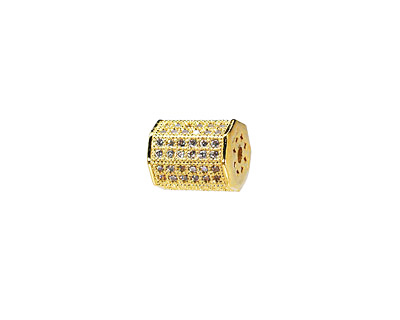 Gold (plated) CZ Micro Pave Lantern 9x7mm