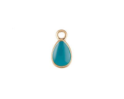 Zola Elements Turquoise Enamel Matte Gold Finish Teardrop Charm 8x14mm