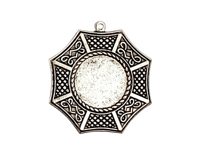 Stampt Antique Pewter (plated) Bagua Round Setting 13mm