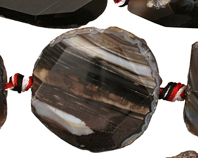 Black Agate Natural Edge Freeform Faceted Slab 29-37x18-30mm