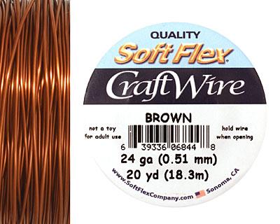 Soft Flex Brown Craft Wire 24 gauge, 20 yards
