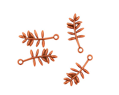 Stampt Antique Copper (plated) Olive Branch Charm 6x15mm