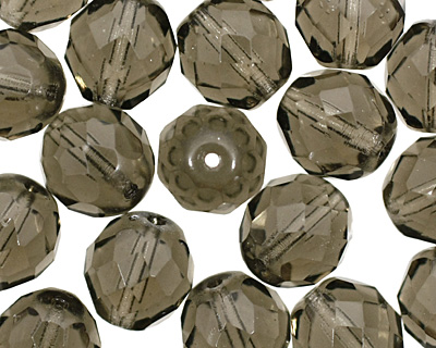 Czech Fire Polished Glass Black Diamond Round 12mm