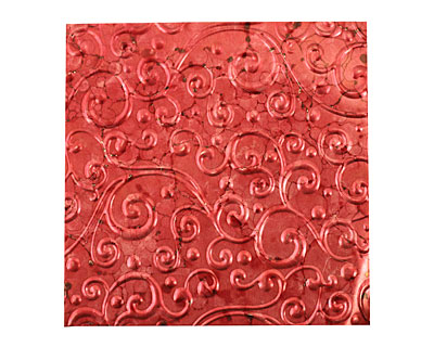 Lillypilly Red Wine Scrolling Vine Embossed Patina Copper Sheet 3