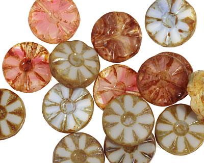Czech Glass Painter's Palette Flower Window Coin 12mm