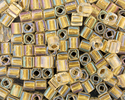 TOHO Crystal (with Gold Lining) Cube 4mm Seed Bead