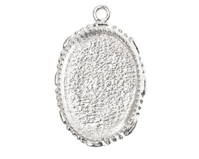 Nunn Design Sterling Silver (plated) Large Ornate Oval Bezel Pendant 23x35mm