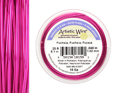 Artistic Wire Silver Plated Fuchsia 18 gauge, 20 feet