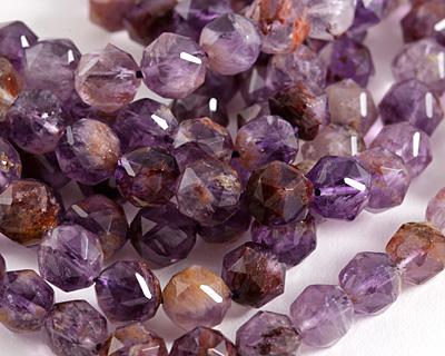 Purple Phantom Quartz (Auralite-23) Diamond Cut Faceted Round 8mm