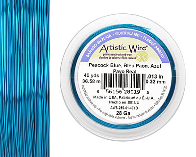Artistic Wire Silver Plated Peacock Blue 28 gauge, 40 yards