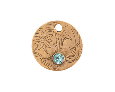 Nunn Design Antique Gold (plated) Decorative Small Circle Tag w/ Aqua Crystal 20mm
