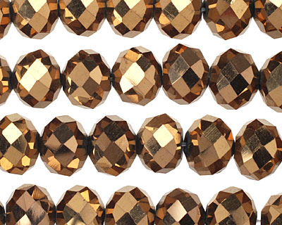 Metallic Antique Bronze Crystal Faceted Rondelle 10mm